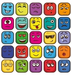 Set of colorful emoticons sqare emoji flat vector image vector image