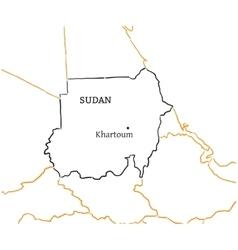 Sudan hand-drawn sketch map vector