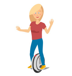 Young girl riding unicycle electric scooter vector