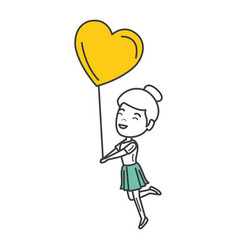 young woman with heart shaped party balloons vector image