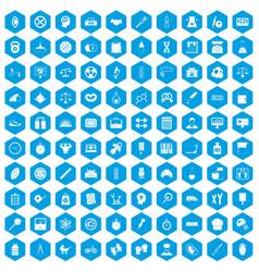 100 libra icons set blue vector