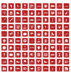 100 mens team icons set grunge red vector image vector image