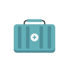 Blue first aid kit icon flat style vector