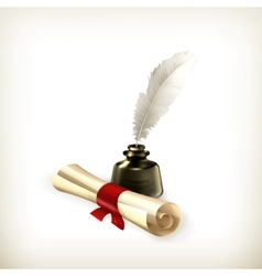 Ancient scroll and feather vector