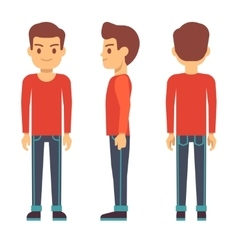 Standing young man boy character in front back vector