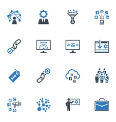 Seo and internet marketing icons set 2-blue series vector
