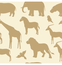 Seamless pattern with african animal silhouettes vector image