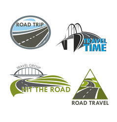 Road travel time icons vector
