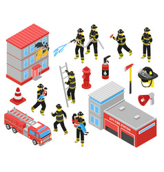 Fire department isometric icons set vector