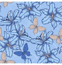 Seamless background with blue lilies vector