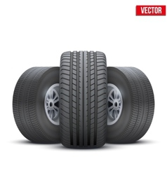 Realistic wheels and tire concept vector