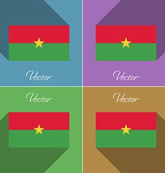 Flags burkia faso set of colors flat design and vector