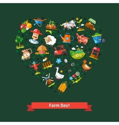 Heart composition of modern flat design farm and vector