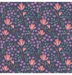 Seamless floral pattern on dark background vector