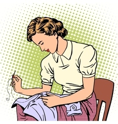 Woman sews shirt thread housewife housework vector
