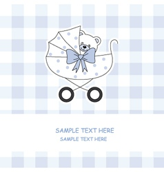 Baby boy carriage with a teddy bear vector