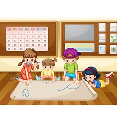 Children drawing on paper in classroom vector image