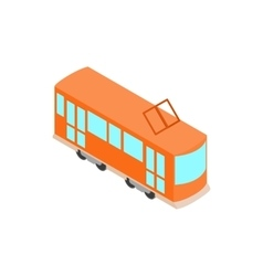 Red tram icon isometric 3d style vector