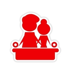 Paper sticker on white background couple on couch vector