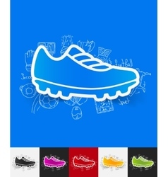 sneakers paper sticker with hand drawn elements vector image