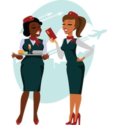 Air hostesses ready to fly vector image
