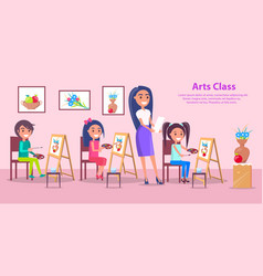 Arts class at elementary school poster vector