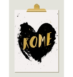Black Heart Rome Poster vector image