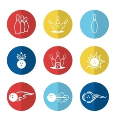 Bowling line icons set vector