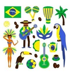 Brazil decorative set vector image