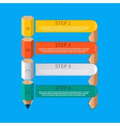 Business pencil staircase infographics option vector