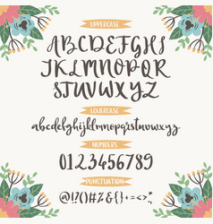 Calligraphic font with floral nature vector