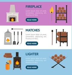 cartoon fireplace banner horizontal set vector image