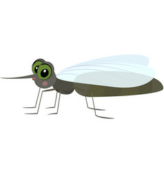 cartoon gray funny mosquito vector image