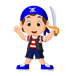 cartoon pirate holding a sword vector image vector image