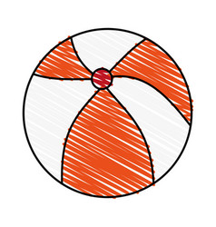 Color crayon stripe beach ball toy fun vector