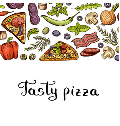 cooking pizza background with place for vector image vector image