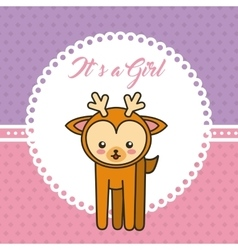 Cute reindeer animal card baby shower vector