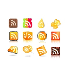 different style of rss icon set vector image vector image