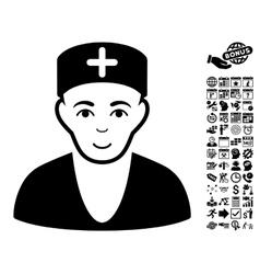 Doctor Flat Icon With Bonus vector image
