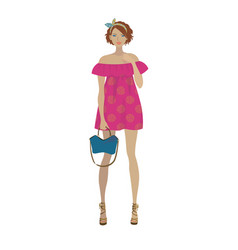 Fashion model in the trendy pink fuchsia dress vector