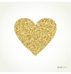 Gold glitter heart on white background vector image vector image