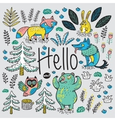 Hand drawn card with cartoon animals and text vector image vector image
