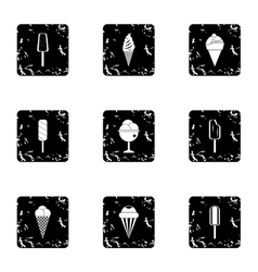 Ice cream icons set grunge style vector