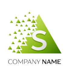 Letter s logo symbol in colorful triangle vector