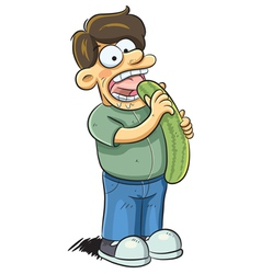 Man Eating Cucumber vector image vector image