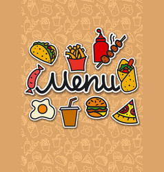 menu cover fast food vector image vector image