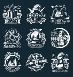 Merry christmas emblem set vector