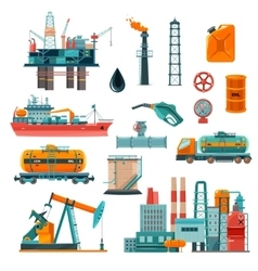 Oil Industry Cartoon Icons Set vector image
