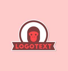 Paper sticker on stylish background monkey logo vector