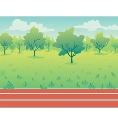 Park landscape with running track environment vector